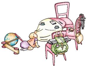 Zeichnung mit Symbolen aus der Beratungssituation mit Tisch, Baby , Rucksack und Geldbörse