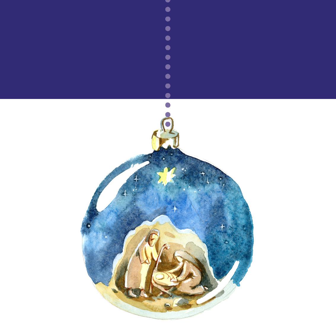Weihnachtsmotiv der Grußkarte DWBS