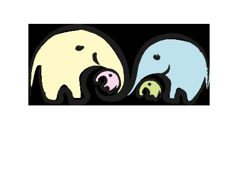 Zwei Elefanten mit Kindern