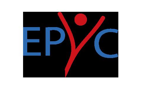 Schriftzug EPYC mit einem Buchstaben, der als Person mit ausgestreckten Armen