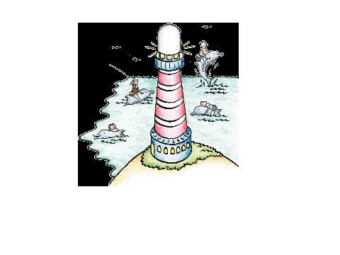 Leuchtturm mit schwimmenden Kindern und Delfinen