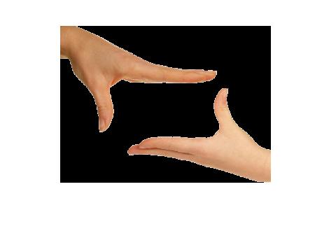 Zwei Hände als Symbol für Gebärdensprache