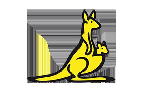 Gelbes Känguru mit Baby