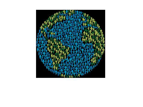 Weltkugel dargestellt aus vielen Menschen