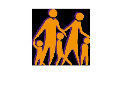 Grafik einer Familie mit zwei Kindern