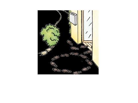Zeichnung des Einganges der Suchtberatung, davor Fußabdrücke, die aus einem Kreis in das Haus führen