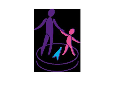 Kind mit Erwachsenem an der Hand stehen auf einem Kompass