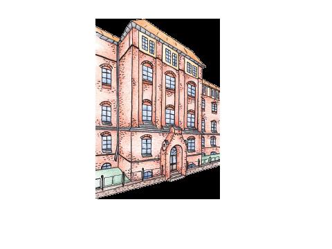 Zeichnung der Aussenansicht eines Backsteingebäudes